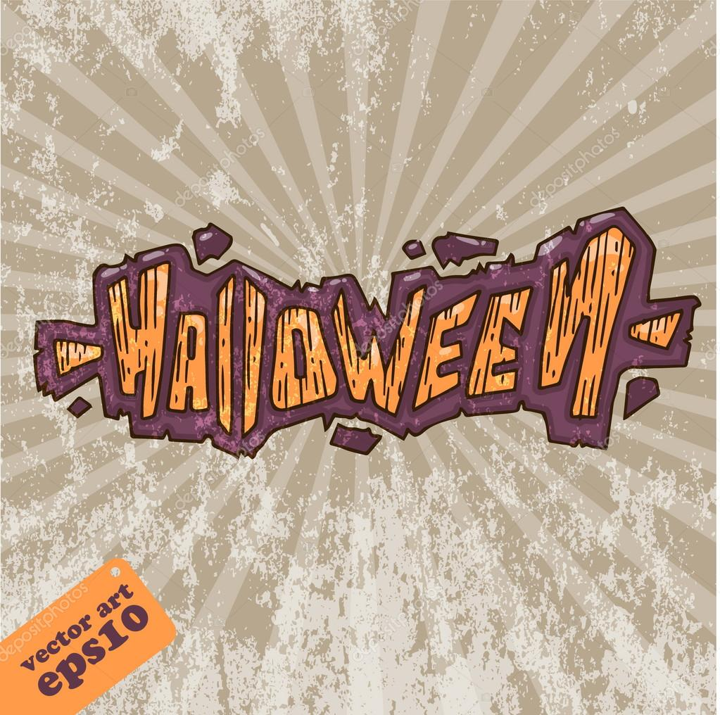Lettering Halloween with a grunge background  Stock Vector #16792691