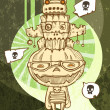 Pumpkin and ancient totem. Halloween illustration - Imagen vectorial