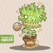 Evil plant monster. vector illustration — Stock Vector