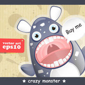 Crazy monster — Stock Vector