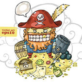 Pirate and his treasure — Stock Vector