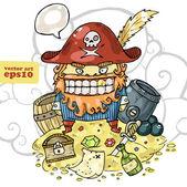 Pirate and his treasure — Stock Vector