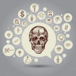 Skull with icons — Stock Vector