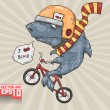 Stock Vector: Shark on bike