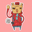 Trendy bear waving his hand — Image vectorielle