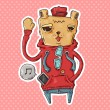 ストックベクタ: Trendy bear waving his hand