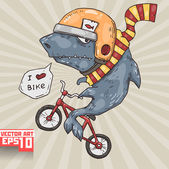 Shark on a bike — Stock Vector