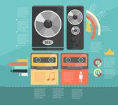 Infografía. audio descongelar — Vector de stock