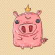 Stock Vector: Pig with the crown