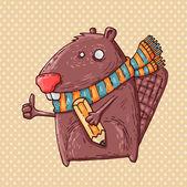 Beaver en potlood — Stockvector