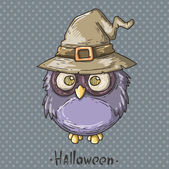Owl with hat — Vector de stock