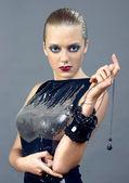 Fashion Gorgeous sexy woman in black — Stock Photo