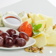 Cheese and grapes - Stok fotoraf