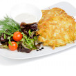 Potato pancake with vegetables - Stock Photo