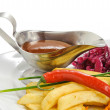 Fries with sauce with chilli — Stock Photo