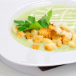 Green soup with croutons — Stock Photo
