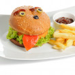 Smiling burger and fries — Stock Photo
