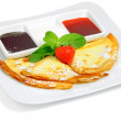 Pancakes with strawberry jam - Stock Photo