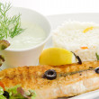 Stock Photo: Grilled fish with garnish