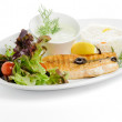 Grilled fish with garnish — ストック写真