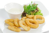Breaded calamari rings deep fried — Stock Photo