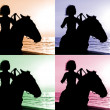 Outline an unknown woman on a horse by the sea — Stock Photo