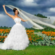 Bride on a background of black clouds and flower beds, keep the fabric in the wind - Stock Photo