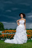 Bride on a background of black clouds and flower beds — Stock Photo