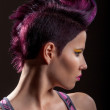 Stock Photo: Portrait of beautiful girl with dyed hair, professional hair colouring
