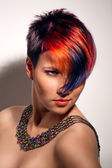 Portrait of a beautiful girl with dyed hair, professional hair colouring — Stock Photo