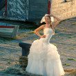 Beautiful blonde haired woman in bridal dress — ストック写真