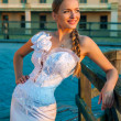 Foto de Stock  : Beautiful blonde haired woman in bridal dress