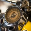 Soft focus, speedometer, vintage motorcycle - Stock Photo