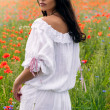Beautiful young brunette girl wearing white summer dress in poppy filed — Stock Photo #27915083
