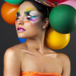 Fashion girl with balloon — Stock Photo