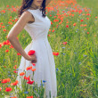 Beautiful young brunette girl wearing white summer dress in poppy filed — Stock Photo