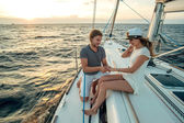 Romantic proposal scene on yacht — Stock Photo