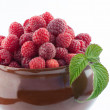 Big clay pot with fresh red raspberries — Stock Photo