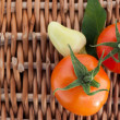 Fresh sweet peppers and tomatoes — Stockfoto
