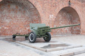 Russian anti-tank regiment 57-mm gun of the Second World War — Stock Photo