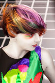 Portrait of a beautiful girl with dyed hair, professional hair coloring — Foto Stock