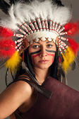 American Indian girl with bag — Stock Photo