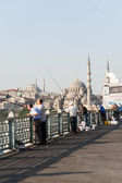 Fishermen on Galata Bridge — Stock Photo