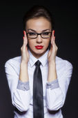 Businesswoman handle glasses — Stock Photo