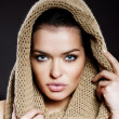 Portrait of beautiful woman with a hood — Stock Photo