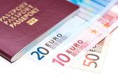 European Passport and Euro on white — Stock Photo