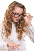 Businesswoman with glasses making decision with emotions — Stock Photo