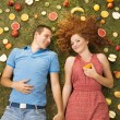 Couple with fruit — Stock Photo