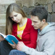 Students with book — Stock Photo #15356627