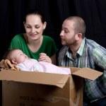 Baby in box — Stock Photo